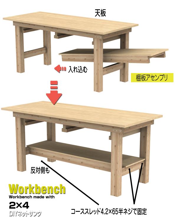 棚板アセンブリの固定説明図