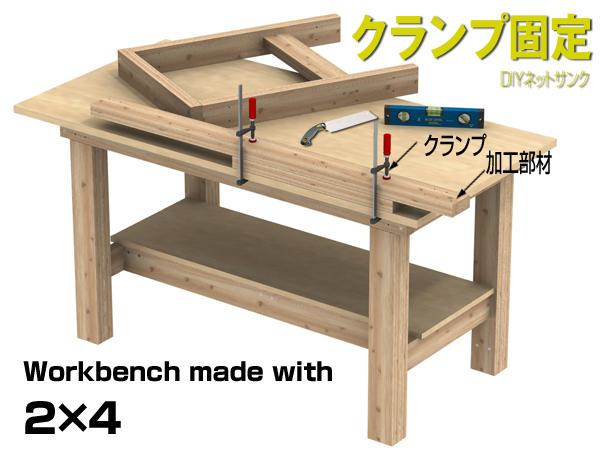 DIY作業台のクランプ固定の説明図