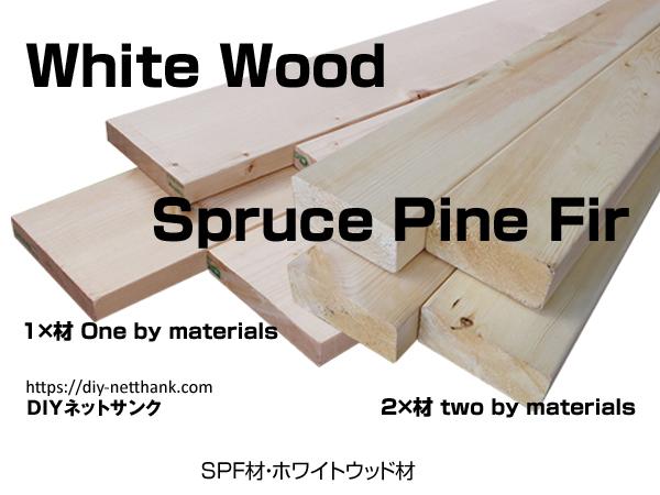 タイトルSPF木材やホワイトウッドのイメージ