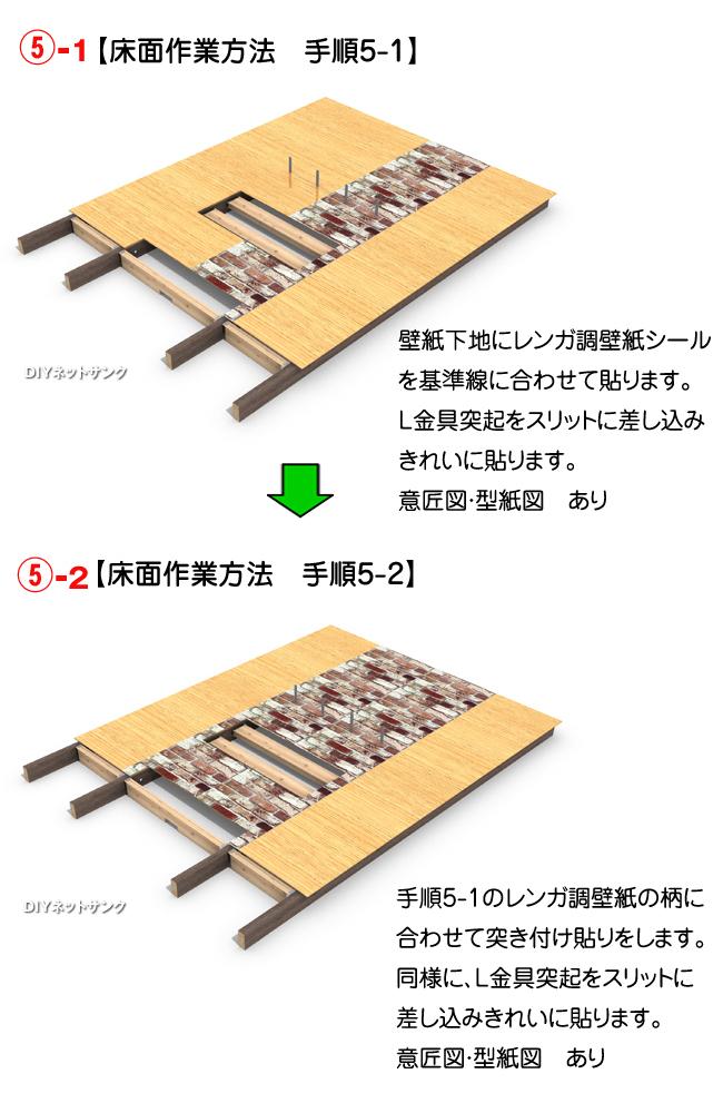 床面作業方法 手順5-1・手順5-2のイメージイラスト