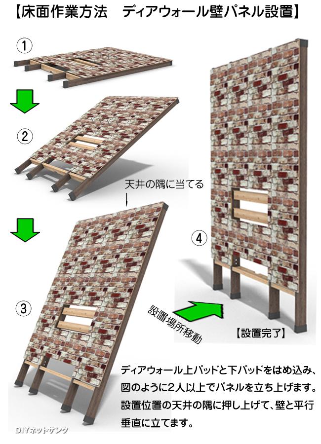 床面作業方法 ディアウォール壁パネル設置のイメージイラスト