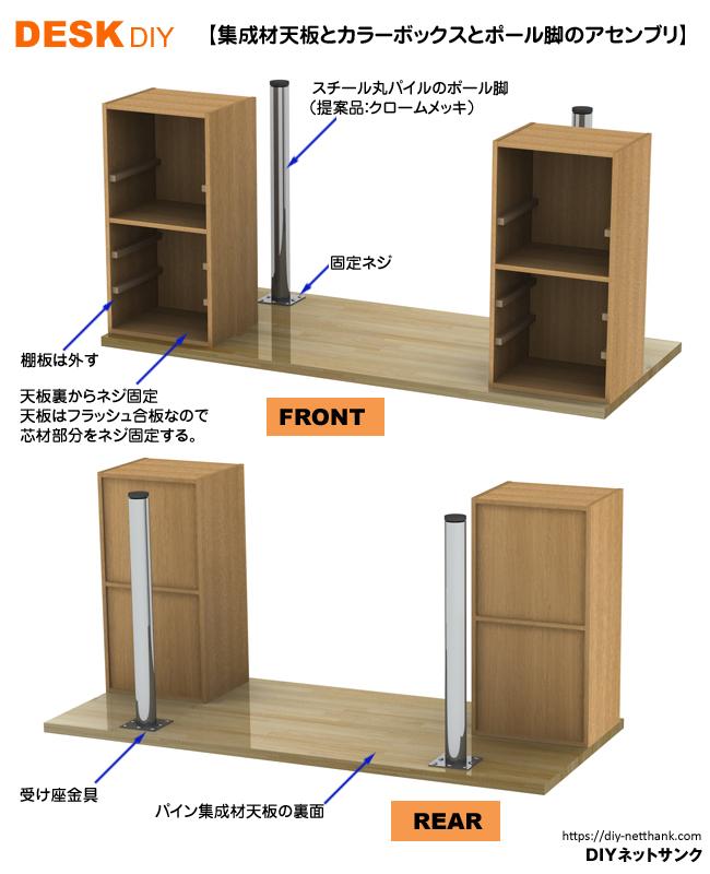 集成材天板とカラーボックスとポール脚のアセンブリ