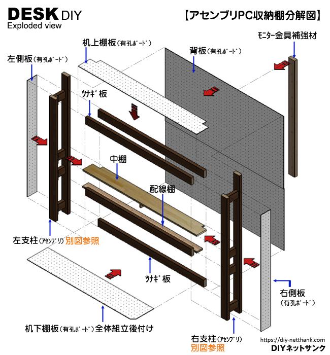 アセンブリPC収納棚分解図