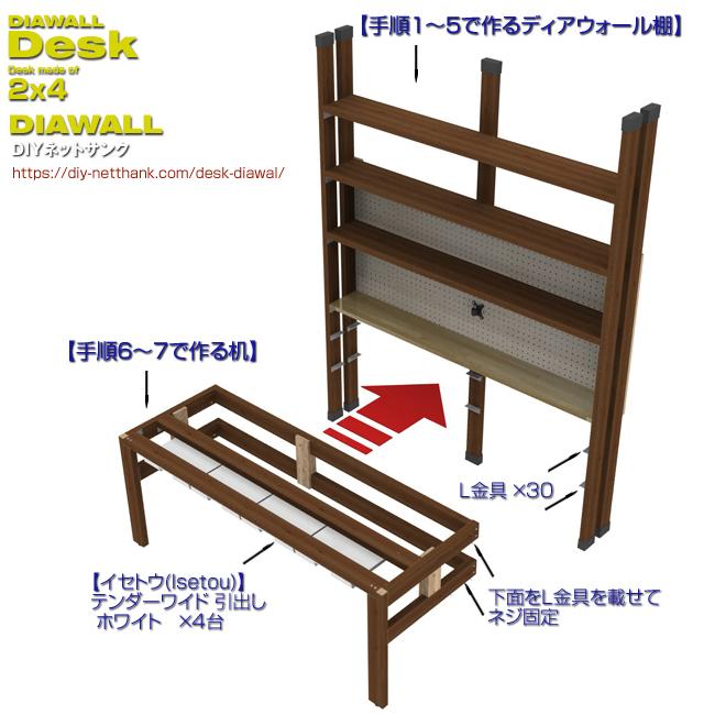 ディアウォール机の脚はディアウォール棚と一体化にする